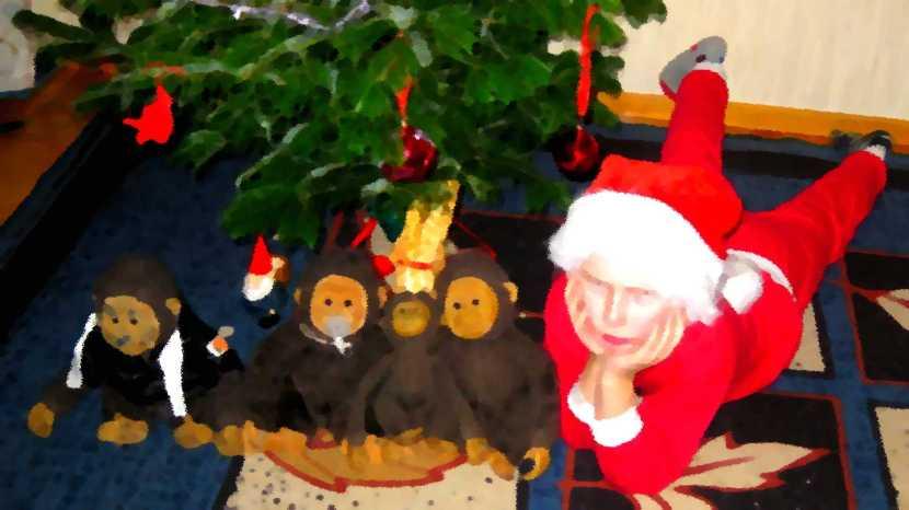 Huddinge M-vägen, lille AJE vid julgranen, 23 december 2011