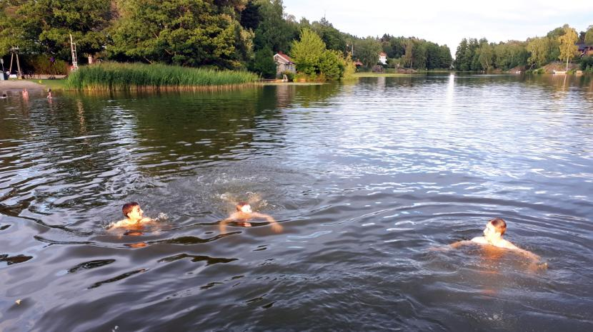 Älvsjö Långsjön, bad, 6 juli 2018