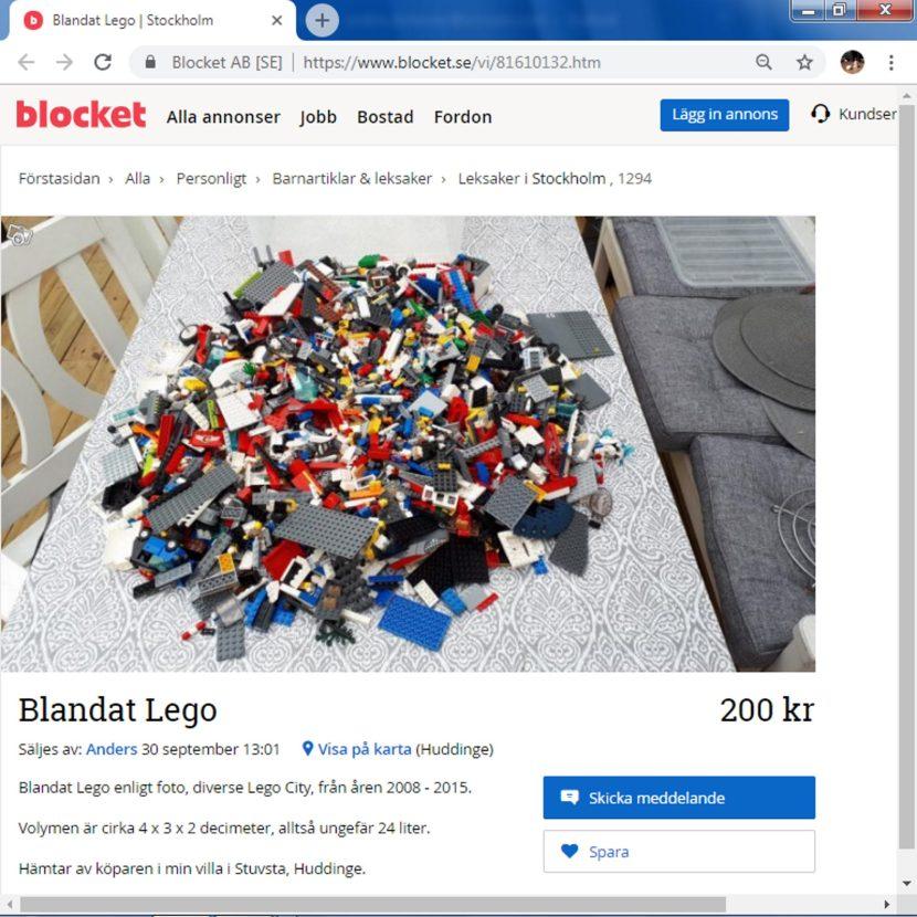 """Från blocket.se, """"Blandat Lego"""", 30 september 2018"""