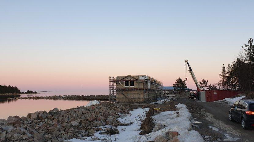 Gnarp Sörfjärden, nybyggnation på Klasudden, 13 april 2019