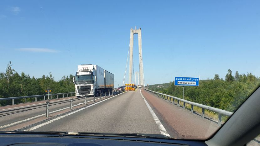 E4, Höga kusten bron, 22 juli 2019