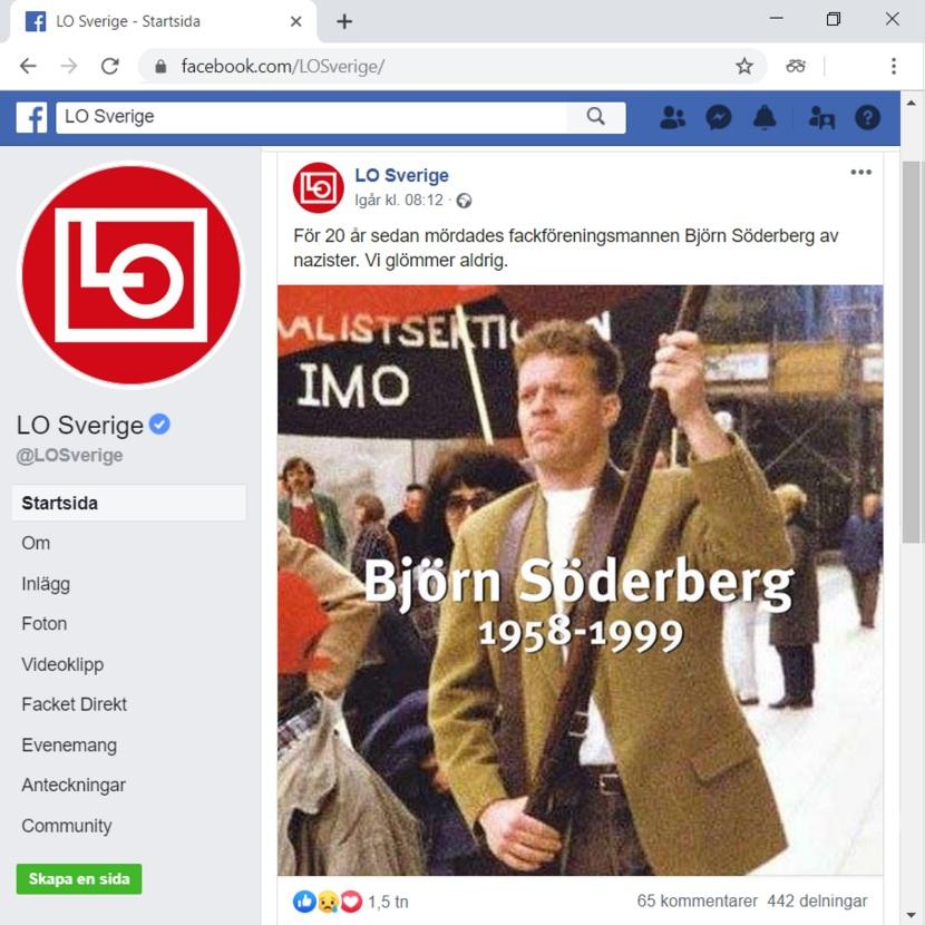 Från LO Sveriges facebooksida,