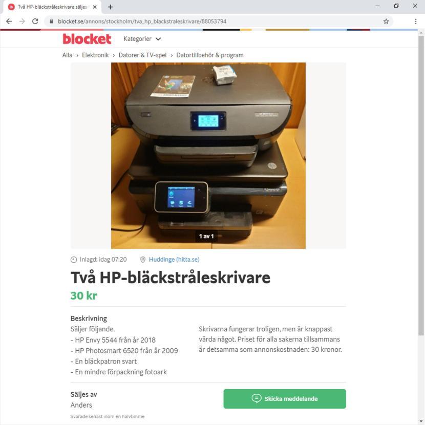 """Från blocket.se, """"Två HP-bläckstråleskrivare"""", 16 januari 2020"""