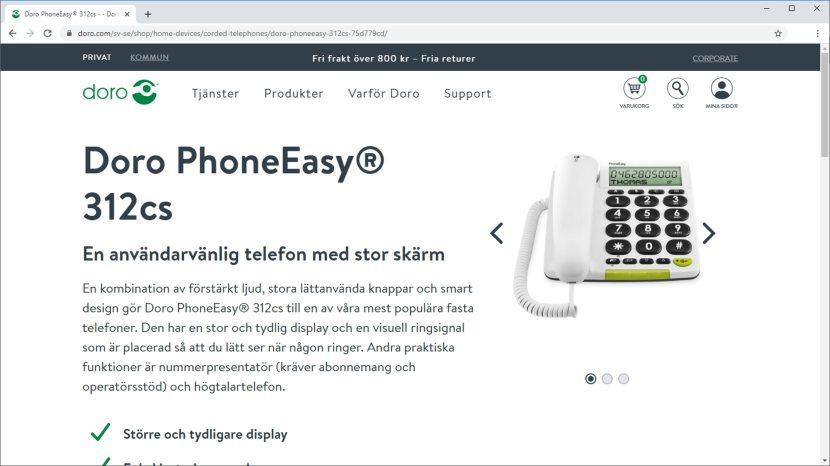 "Från doro.se, ""Doro PhoneEasy 312cs"", 13 februari 2020"