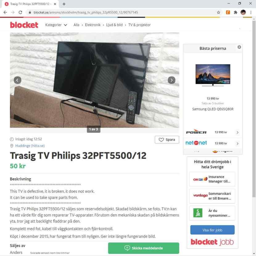 """Från blocket.se, """"Trasig TV Philips 32PFT5500/12"""", 5 juli 2020"""