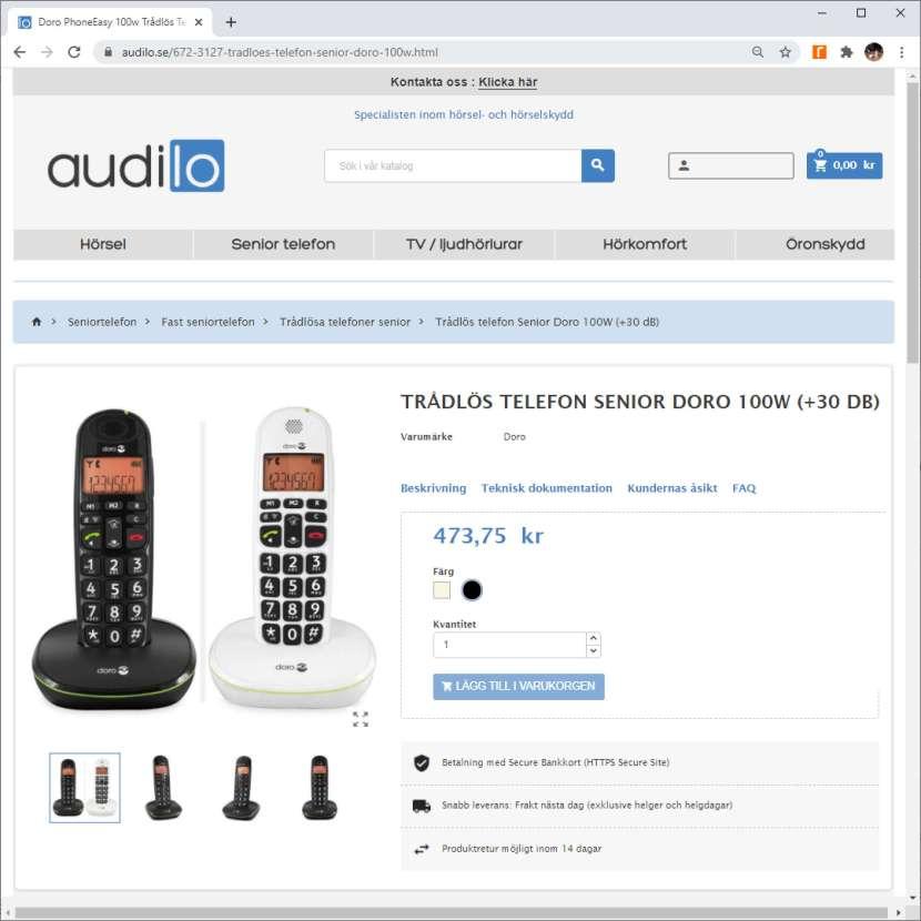 Från audilo.se, Doro 100W i svart utförande, 18 november 2020