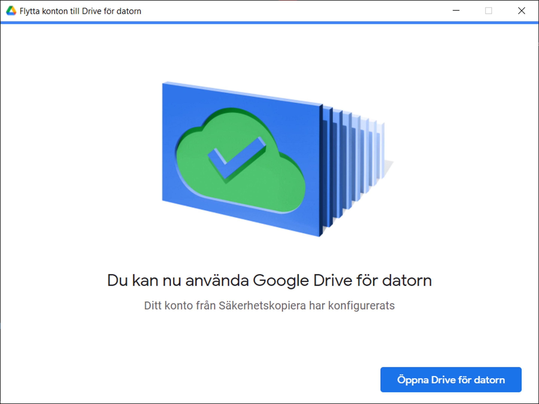 """Från Google, """"Flytta konton till Drive för datorn"""", 25 oktober 2021"""